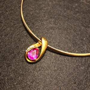 Pink tourmaline with Cz pendant/necklace